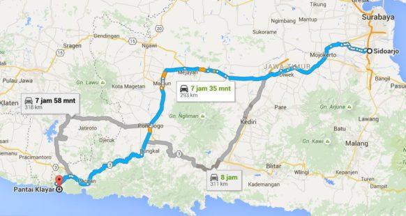 Rute perjalanan ke Pantai Klayar dari Sidoarjo