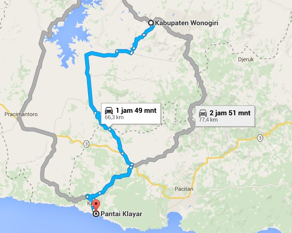 Rute ke Pantai Klayar dari Wonogiri Jawa Tengah