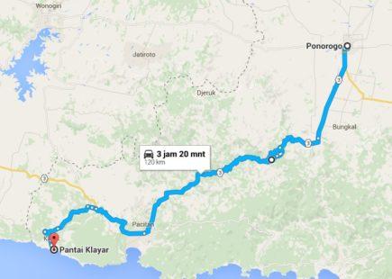 Rute perjalanan dari Ponorogo ke pantai klayar Pacitan